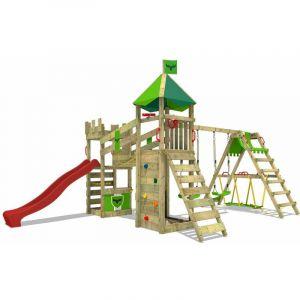 Aire de jeux Portique bois RiverRun avec balançoire SurfSwing et toboggan rouge Maison enfant exterieur avec bac à sable, échelle d'escalade - Fatmoose