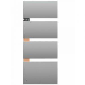 RADIATEUR SALLE DE BAINS CONNECTE 3CS SYMPHONIK ELECTRIQUE THERMOR (Gris ardoise / Alu brossé - Mat à droite - 750 W +1000 W soufflerie - 1335 x 550 x 140 mm)