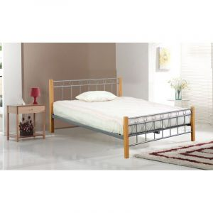 Lit EVELINE 140x200 cm en métal et bois coloris gris et naturel avec sommier. - PRICE FACTORY