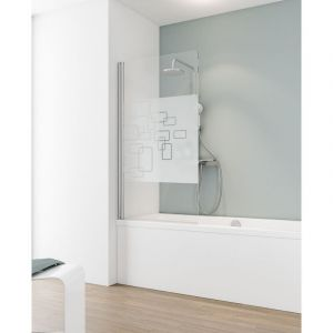 Schulte - Pare-baignoire rabattable, 80 x 140 cm, verre 5 mm, paroi de baignoire 1 volet, écran de baignoire pivotant, Capri Décor softcube, profilé aspect chromé