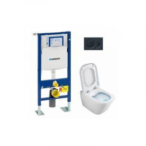 Pack WC Geberit UP320 + Cuvette GAP sans bride Cleanrim + plaque Sigma Noire