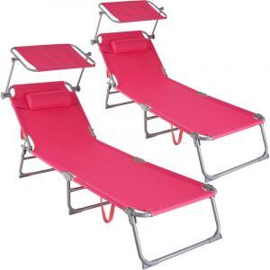 Lot de 2 transats CHLOE - lot de 2 chaises longues, bains de soleil, transats jardin - rose vif - TECTAKE
