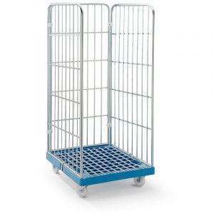 Roll-conteneur à panneaux grillagés - socle roulant en plastique, 3 côtés - grillage galvanisé bleu avec tablettes - RIMO