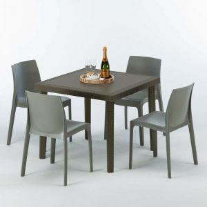 Table carrée et 4 chaises colorées Poly rotin resine 90x90 marron | Rome gris - GRAND SOLEIL