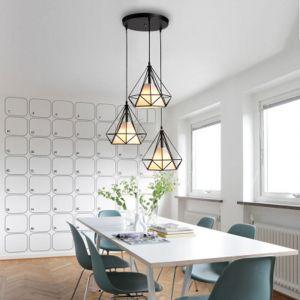 Suspension Cage Forme Diamant Contemporain 25cm Corde Ajustable Luminaire Lustre en Fer Salle à Manger,Bar,Chambre - STOEX