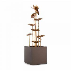 Blumfeldt Golden Orchid Fontaine décorative de jardin pompe 5W IPX8 aspect laito