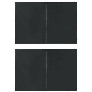 Paroi de tente de réception 2pcs fermeture éclair PE Anthracite - VIDAXL