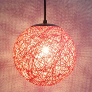 STOEX Rétro Suspension Luminaire en Rotin Globe Rond 20cm, Lustre Abat-jour DIY Lampe Plafond E27 pour Salon Restaurant Centre commercial Bar - Rose