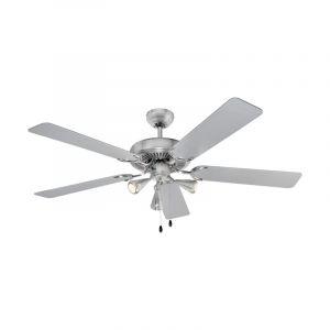 Ventilateur de plafond LED, interrupteur à tirette, argent, refroidisseur, D 132 cm - BOMANN