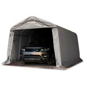 Tente-garage carport 3,3 x 4,8m d'élevage abri agricole tente de stockage bâche 550g/m² armature solide gris - INTENT24.FR