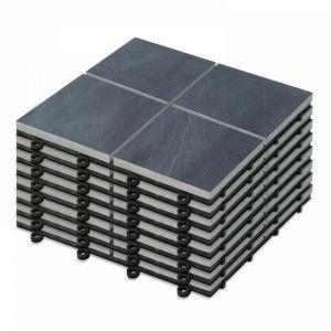 8 Dalles de terrasse clipsables en pierre noire 4 carreaux Kobe - Gris - OVIALA