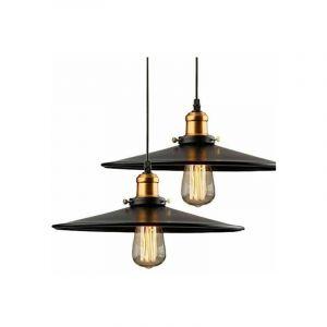36cm E27 Suspension Industrielle Rétro Lustre Abat-Jour Noir Lampe de Plafond Luminaire pour Salon Cuisine Bar - STOEX
