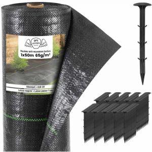 Toiles de Paillage 65g/m² avec Sardines en Plastique - Geotextile Anti Repousse 50M pour Jardin Potager - Bache Mauvaise Herbe 65g pour potager