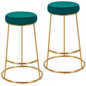 Lot de 2 tabourets de bar design en tissu velours vert bleu pieds en métal - DéCOSHOP26
