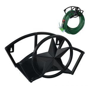 Support tuyau d'arrosage, pour 45 m & 5/8', enrouleur, dévidoir, acier, montage mural, rond, jardin, noir - RELAXDAYS