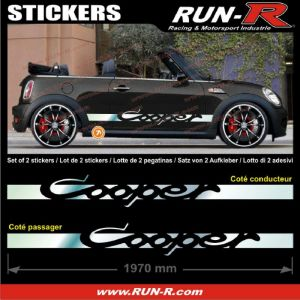 2 stickers MINI COOPER 197 cm - CHROME - Run-R Stickers