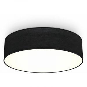 Plafonnier textile noir 2 douilles E27 rond Ø38cm éclairage plafond salon salle à manger chambre - B.K.LICHT
