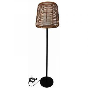 Lampadaire filaire design poly rotin pour extérieur LED blanc TALL BOHEME H150cm culot E27 - LUMISKY