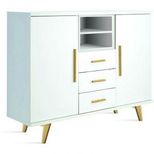 Buffet en bois avec 2 portes et 3 tiroirs coloris blanc - Dim : L 120 x H 30 x P 30 cm (livré monté) - PEGANE