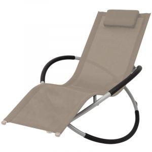 Chaise longue géométrique d'extérieur Acier Taupe - VIDAXL