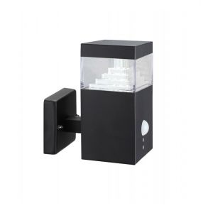 Applique Pyramide Inox 30 LED SMD 7.5W à détecteur | noir - LUMIHOME