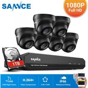 SANNCE Kit Vidéo surveillance cctv système 8CH 1080N DVR enregistreur + caméra de sécurité extérieur HD 720p vision nocture 20m – 6 caméra dome avec disque dur 1 TB