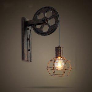 Applique Creative style industriel rétro lampe de mur Loft style levage poulie lumière canal couloir mur lampe - STOEX