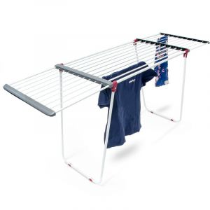 Séchoir à linge sur pied rétractable pour usage intérieur extérieur étendoir à vêtements avec rallonges, blanc et gris - RELAXDAYS