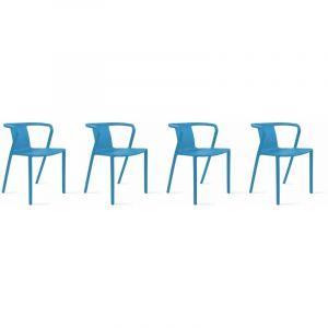 Lot de 4 fauteuil de jardin design en plastique Bleu - OVIALA