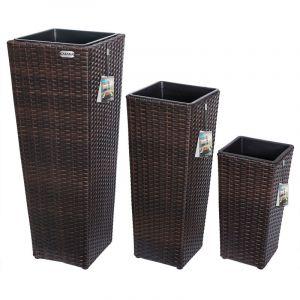 Set de 3 pots de fleurs brun polyrotin pot intérieur amovible design élégant - DEUBA