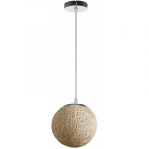 STOEX Rétro Suspension Luminaire en Rotin Globe Rond 20cm, Lustre Abat-jour DIY Lampe Plafond E27 pour Salon Restaurant Centre commercial Bar - Beige