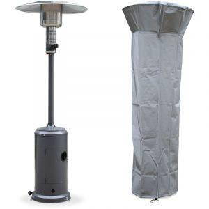 Chauffage d'extérieur gaz 12,5kW - Finland gris - Parasol chauffant, réglable, roulettes et housse - ALICE'S GARDEN