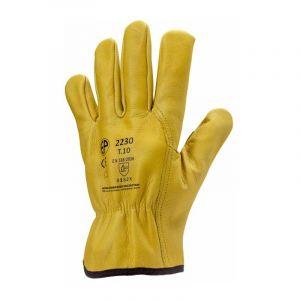 Gants de manutention cuir Eurotechnique 2230 (lot de 10 paires de gants) Jaune 8