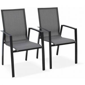 Lot de 2 fauteuils - Washington Anthracite - En aluminium anthracite et textilène gris foncé, empilables - ALICE'S GARDEN