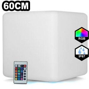 Europalamp - Cube LED Lumineux Multicolore 60CM Rechargeable Sans Fil