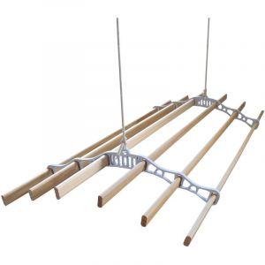 Etendoir à Linge Suspendu de 1,4 Mètre, 6 Lattes en Pin Vernissés, Supports en Fonte et Poulie Blancs - MONSTER SHOP