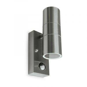 Applique murale IP54 Inox 304 double éclairage (max 2xGU10 7W led) + Détect - VISION-EL