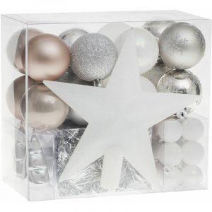 Kit déco pour sapin de Noël - 44 Pièces - Taupe, argent et gris - FÉÉRIE LIGHTS&CHRISTMAS