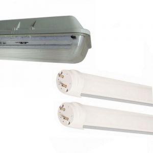Kit de Réglette LED étanche Double pour Tubes T8 120cm IP65 (2 Tubes Néon lumineuse LED 120cm T8 36W inclus) - Blanc Chaud 2300K - 3500K - SILAMP