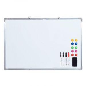 Tableau blanc aimante magnetique cadre aluminium 90x60cm - HOMCOM