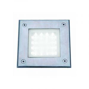 Spot encastrable led, carré, acier inoxydable et verre