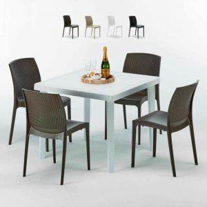 Table carrée et 4 chaises Poly rotin resine colorées 90x90 blanc | Boheme Marron Moka - GRAND SOLEIL