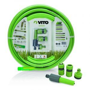 Kit d'arrosage jardin complet de 25 mètres et de diam 19mm composé d'un tuyau PVC renforcé tri couches - VITO GARDEN