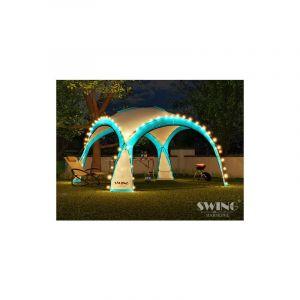 Tente pliante pour événement DOM 3,60x3,60 m éclairage led Swing & Harmonie® turquoise