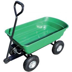 Chariot de jardin cuve basculante en polypropylène 250 kg charge max 4 roues gonflées - BRIXO