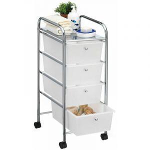 Caisson sur roulettes SANO chariot avec 4 tiroirs en plastique blanc transparent et 1 tablette, rangement salle de bain en métal - IDIMEX