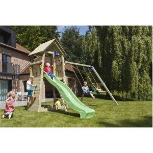 Aire de jeux, structure en poteaux de 9x9 cm ht 328 cm. 421x169 cm avec toboggan de 290 cm, 2 balancoires - BLUE RABBIT
