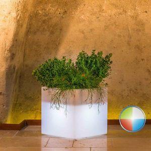 Pot de fleurs Cube en résine Carré H40 Led Multicolor 40x40Cm - IDRALITE
