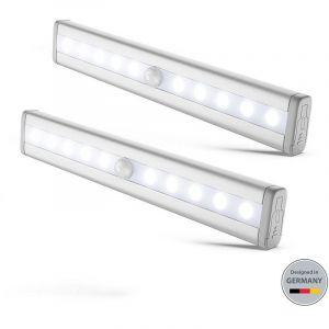 2 lumières LED réglettes veilleuses avec détecteur de mouvemen éclairage de sécurité armoire cuisine  - B.K.LICHT