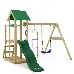 Balançoire WICKEY TinyPlace aire de jeux avec toboggan vert, balançoire et bac à sable